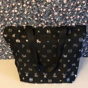 VS Pink large zip top black tote